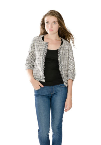 Designer Inspired Metallic Tweed Blazer