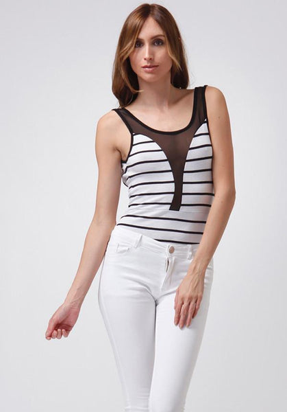 Black And White Striped Mesh Bodysuit