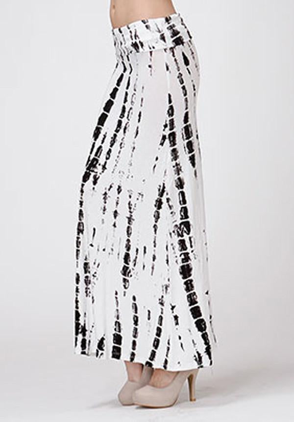 Black And White Tie Dye Maxi Skirt