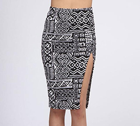 Black And White Tribal Print Midi Skirt