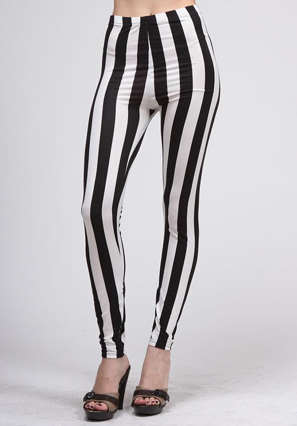 Black And White Vertical Stripe Leggings