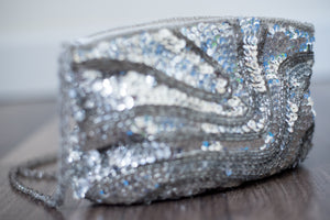 Silver Sequin Clutch or Shoulder Bag