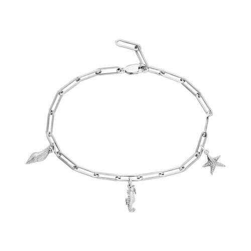 Charm bracelet in silver (including three charms)