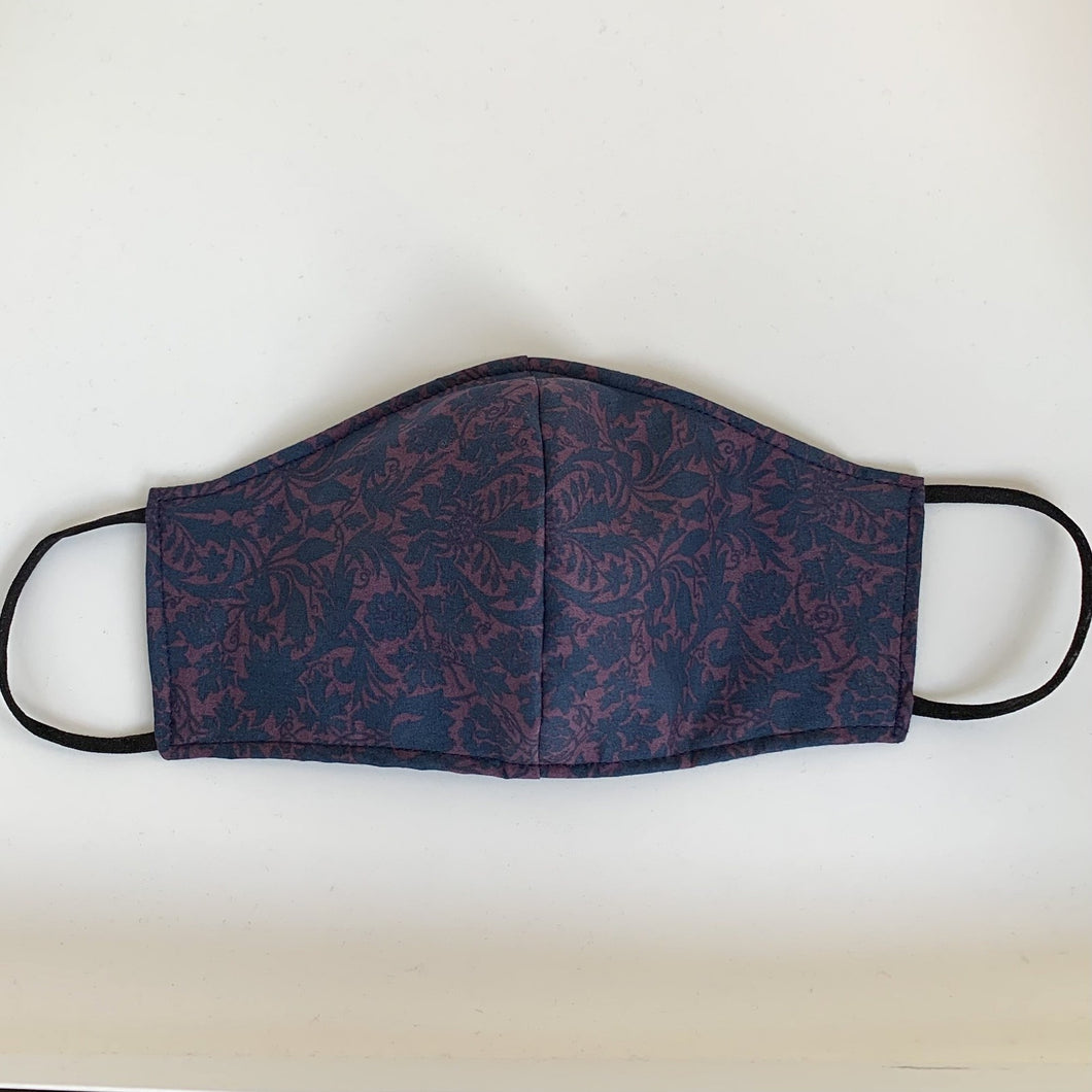Men's three-layer facemask - Blue and purple Liberty print