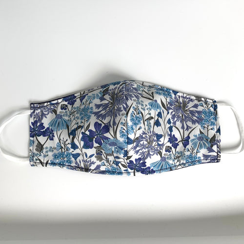Fabric three-layer Liberty facemask (white and blue flower print)