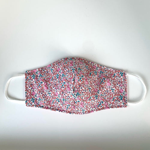 Fabric three-layer face mask (Coral, rose and mint Liberty print)