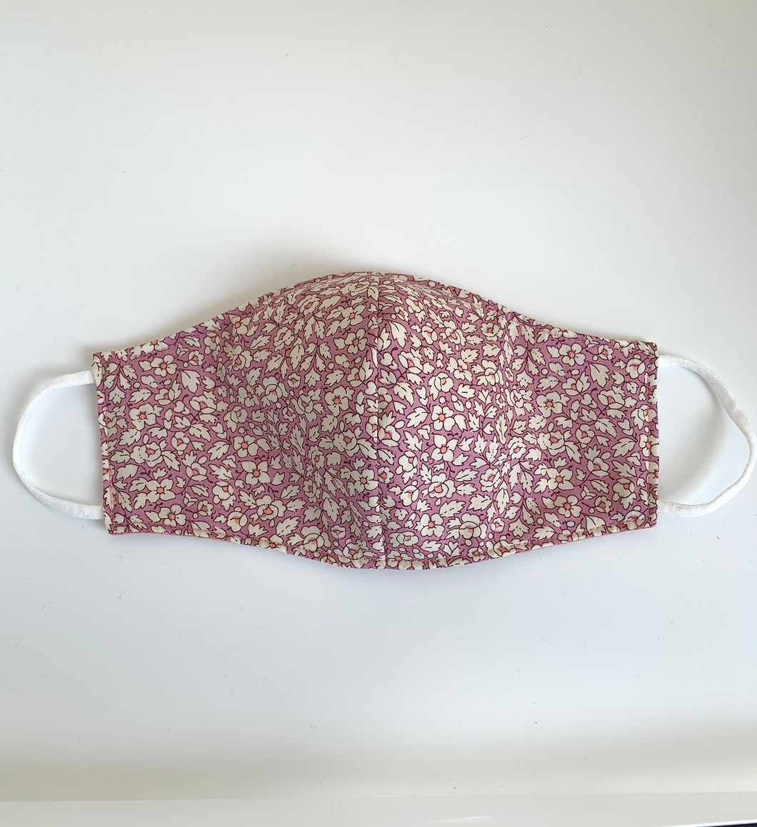 Fabric three-layer face mask (Rose feather Liberty print)