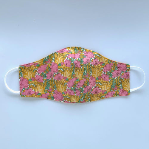 Fabric three-layer face mask (Yellow and pink Liberty print)