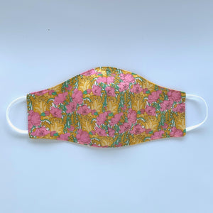 Fabric-three-layer-face-mask-(Yellow-and-pink-Liberty-print)