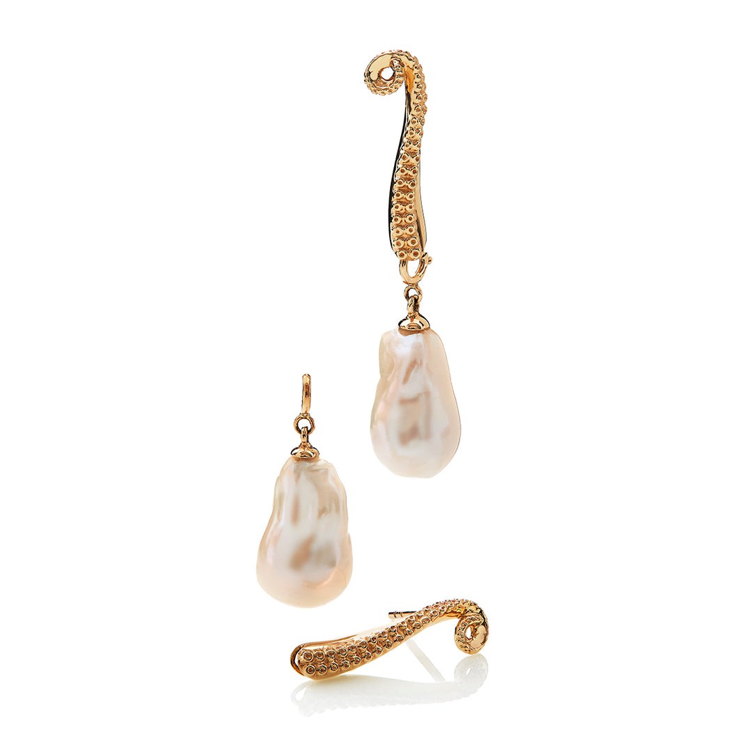 L, earring, saltwater baroque pearl, gold