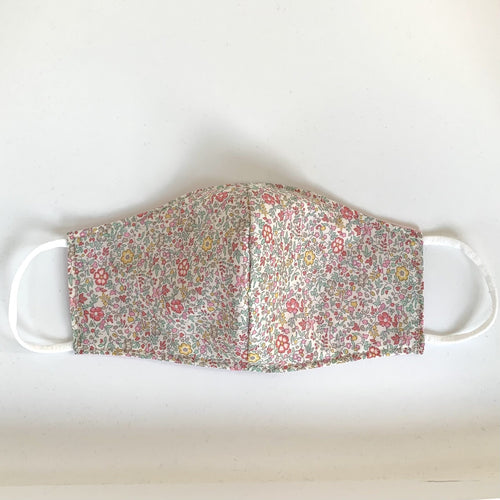 Fabric three-layer face mask (small flower Liberty print in rose, coral and pale green)