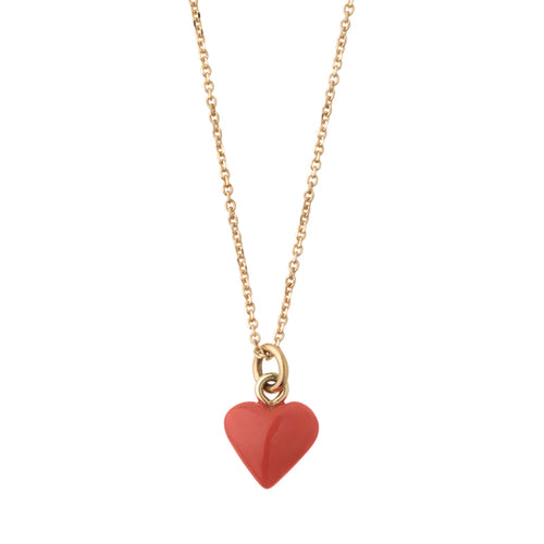 Coral heart pendant charm necklace