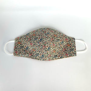 Fabric-three-layer-face-mask-(beige-small-flowered-blue,-pink-and-orange-Liberty-print)