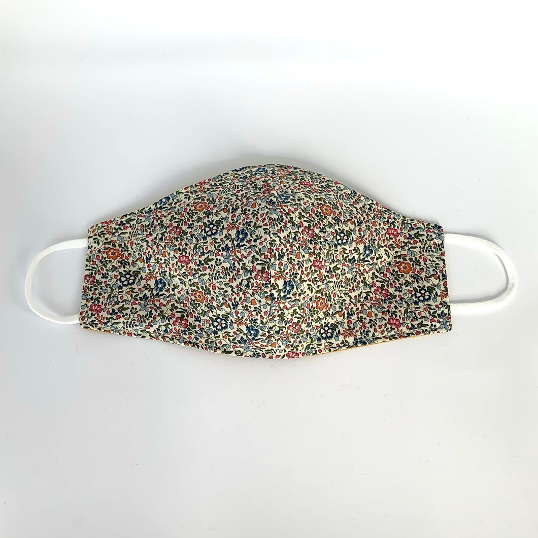 Fabric three-layer face mask (small-flowered blue, pink and orange Liberty print)