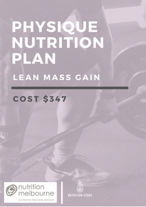 Physique Nutrition Plan - Lean Mass Gain - NutritionStore.com.au (ABN: 78 134 947 363)