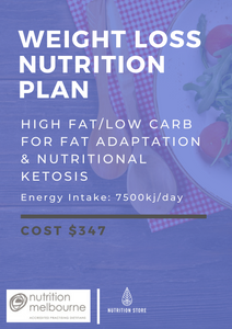 High Fat, Low Carb Nutrition Plan - 7500kJ/day - NutritionStore.com.au (ABN: 78 134 947 363)
