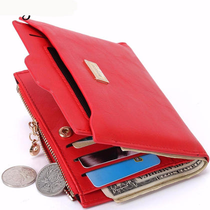 With Coin Bag zipper Women Thin Wallets Purses Passport Holder ID Card Case