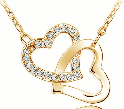 Double Heart Necklace Czech Drilling AAAA+ Rhinestone