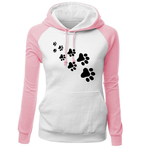 Printed Cat Paws Fleece Hoodies for Women