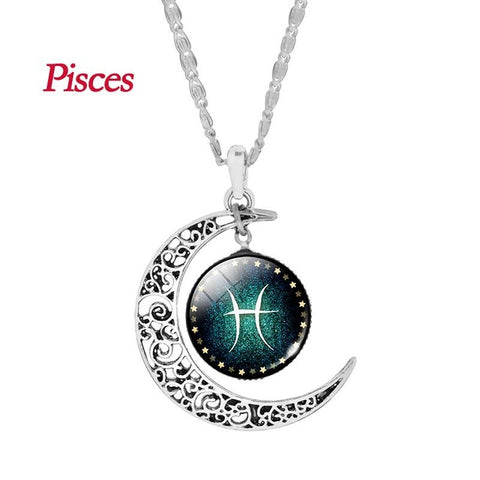 Pisces Zodiac Glass Cabochon Choker Crescent Moon Pendant Long Necklace for Women Christmas Gift