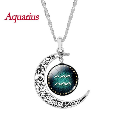 Aquarius Zodiac Glass Cabochon Choker Crescent Moon Pendant Long Necklace for Women Christmas Gift
