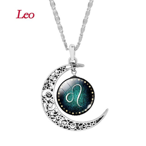 Leo Zodiac Glass Cabochon Choker Crescent Moon Pendant Long Necklace for Women Christmas Gift