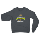 Legends Born In January Heavy Blend Crew Neck Sweatshirt