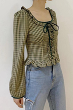 Load image into Gallery viewer, Plaid Ruffle Trim Crop Top