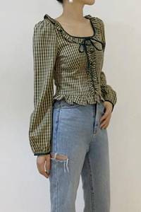 Plaid Ruffle Trim Crop Top