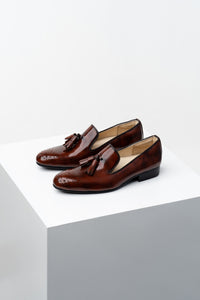 Glossy Brown tassel loafers