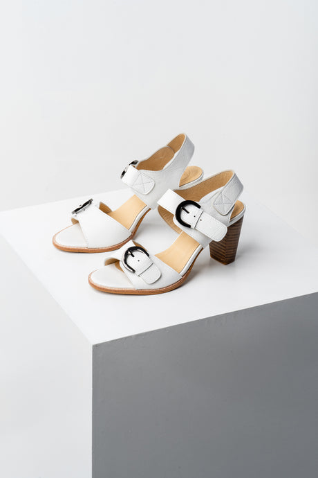 White buckle heel