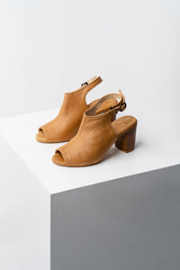Tan block heel booties