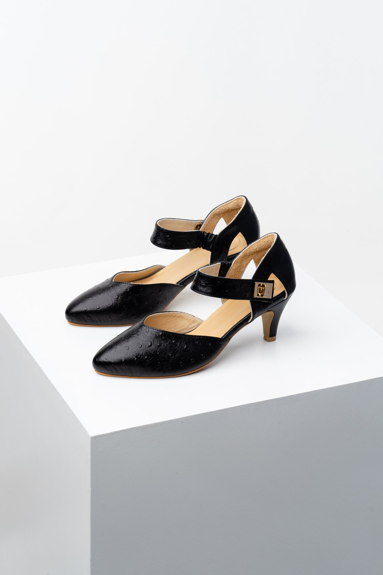 Black Embossed kitten heels