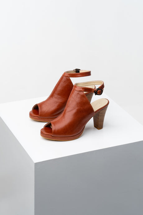 Cognac peep-toe booties