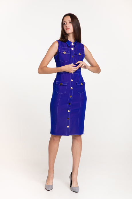 Electric Blue Stitch dress