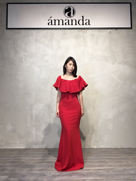 Red Long Off Shoulder Dress