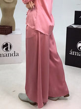 Load image into Gallery viewer, Pink Satin Flare Pants