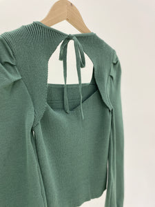 Lantern Sleeve Tie Back Top
