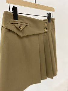 Khaki Pleated Mini Skirt