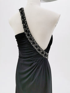 Black Embellished Drape Gown
