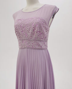 Purple Pleated Gown With Lace