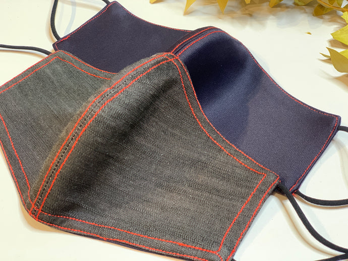 Dark Blue and Grey Denim Reversible Mask (Red Thread)