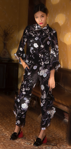 Black Floral Pants With Pearl Ruffle Trimming