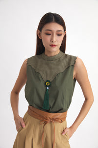 Marbella Tweed Green Top
