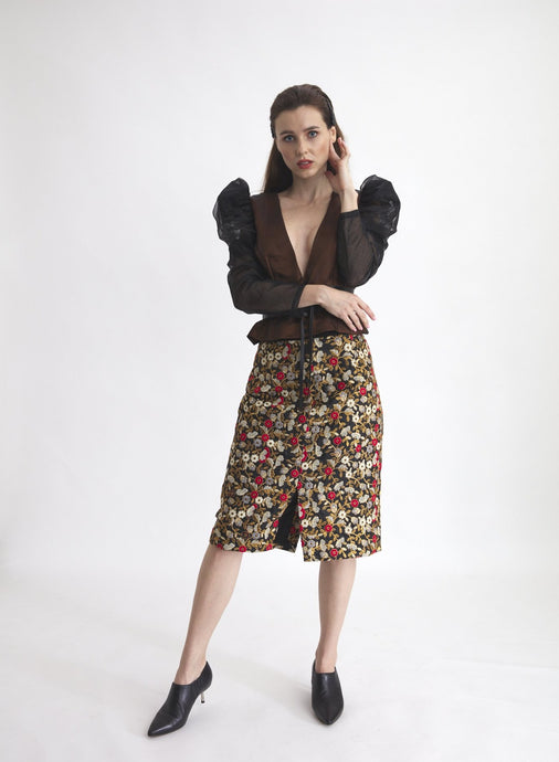 Frontera Floral Embroidery Skirt