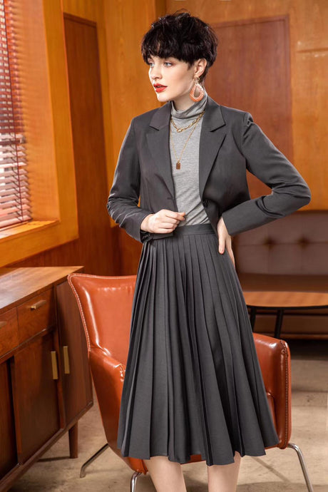 Camilla Pleated Skirt in Charcoal Grey