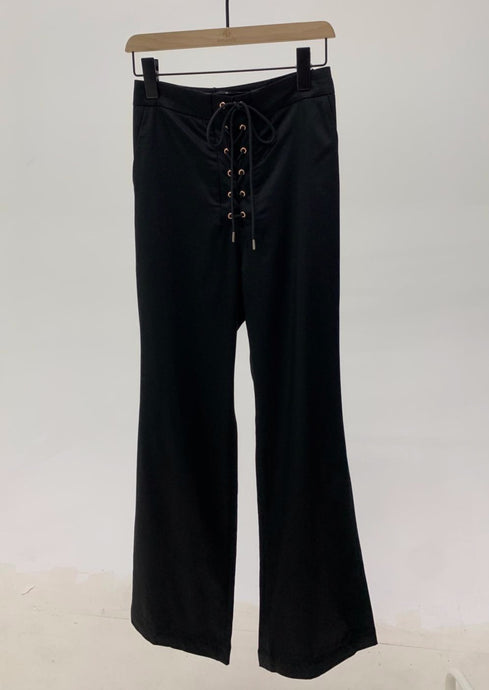 Lace Up Pants in Black