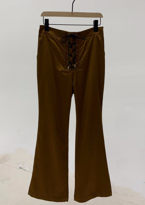 Lace Up Pants in Brown