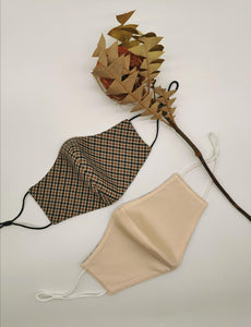 Brown Checkered and Beige Reversible Mask