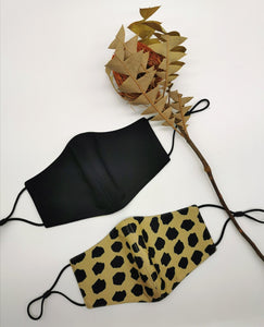 Leopard and Black Reversible Mask